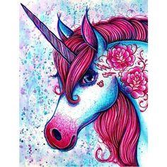 Unicorn Diy, Unicorn Fantasy, Purple Unicorn, Unicorn Head, Unicorn Painting, Unicorn Drawing, Diy Painting, Pop Art, Fantasy Kunst