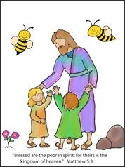 Jesus and the Children Coloring Sheet for the Beatitude Lesson on www.daniellesplace.com