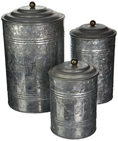 """[gallery]  Set of three 11"""", 9"""" and 7"""" rustic galvanized iron round canisters, hammered finish with subtle fence-ribbed sides and oxidized black ball- ..."""