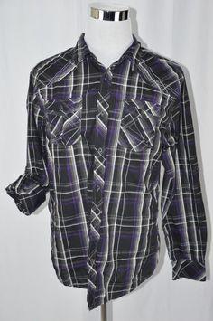 Carbon Mens XL Classic Fit Black White Purple 3/4 Long Sleeve Rockabilly Shirt #Carbon #ButtonFront Rockabilly Shirts, Mens Xl, Leather Jacket, Black And White, Purple, Classic, Long Sleeve, Fitness, Jackets