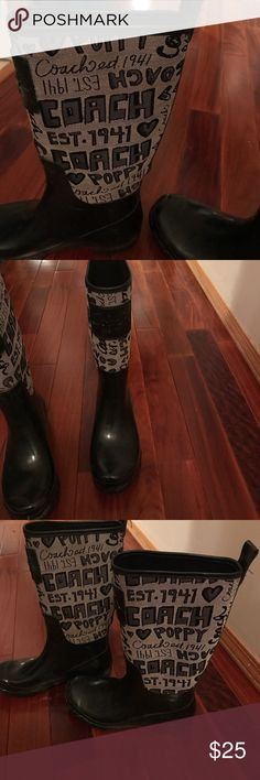 Black and grey coach rain boots These boots are beyond comfortable the color is grey and black . It says coach and other graphic on the grey part of it ! Coach Shoes Winter & Rain Boots
