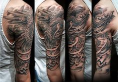 Heavily Shaded Japanese Male Phoenix Half Sleeve Tattoos