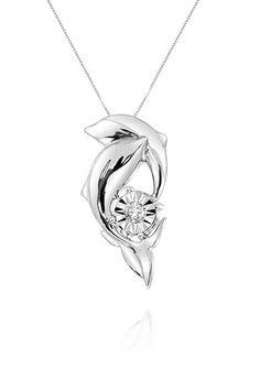 Belk & Co. Diamond Dolphin Pendant Necklace in Sterling Silver