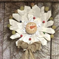 Snowman Primitive Natural wreath