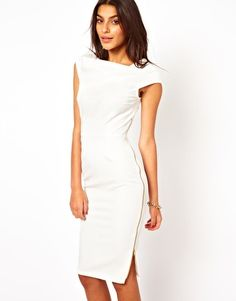 4395ced4b16c Image 1 of ASOS Pencil Dress With Cowl Neck And Zip Side Asos Dress, Pencil