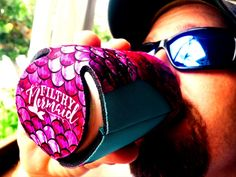 $7.50 The Filthy Mermaid Tail Koozie | To keep your can or bottle cold through happy hour – and show off your mermaid soul! Our custom Filthy Mermaid koozie features a pink tail and mermaid scales, bedazzled with extra bling. The Filthy Mermaid logo is stamped on the bottom, visible whenever you take a sip.
