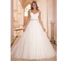 WEDDING DRESSES: A-line Sweep/Brush Train Wedding Dress -Straps Tulle – USD $ 179.99