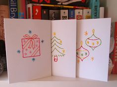 Embroidered xmas cards by What Katie Does, via Flickr