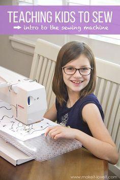 Teaching Kids to Sew: Intro to the Sewing Machine | via www.makeit-loveit.com