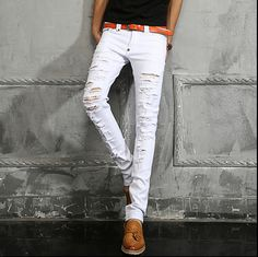 New spring brand casual mens catwalk models Slim feet jeans white hole beggar pants tide singer costumes trousers plus size
