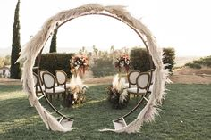great ways to use pampas grass in your weddings - https://ruffledblog.com/wine-country-wedding-inspiration-with-a-pampas-grass-arch