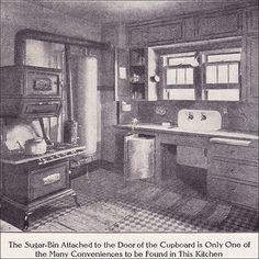 1911 Kitchen with Boiler & Gas Range Source: Ladies Home Journal Victorian Kitchen, Victorian Homes, Victorian Era, Vintage Kitchen, Edwardian Era, Bungalow Kitchen, Craftsman Kitchen, Craftsman Style, Kitchen Stove