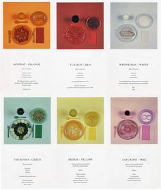 """The Chromatic Diet"" an artistic creation of the writer Paul Auster (b. 1947) and artist Sophie Calle (b. 1953)"