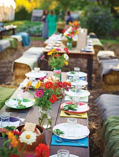 Cheerful Country Wedding Decor Ideas ★ country wedding woodland tables with bright cloth and flowers nate luke and blaine moats wedding clothes 36 Cheerful Country Wedding Decor Ideas Farm Wedding, Wedding Table, Wedding Reception, Wedding Ideas, Wedding Inspiration, Reception Ideas, Wedding Styles, Springfield Missouri, Country Wedding Decorations