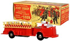 c.1953 Marx, Mechanical Fire Truck w/Automatic Spinning Light, Aerial Ladders and Siren #2 (Factory Sample)