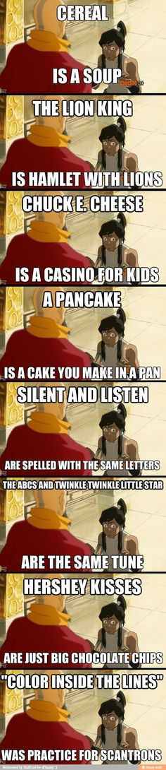 Lol the legend of Korra. << I haven't seen Legend of Korra, but this is funny. Really Funny Memes, Stupid Funny Memes, Funny Relatable Memes, Funny Texts, Haha Funny, Hilarious, Funny Stuff, Random Stuff, Funny Things