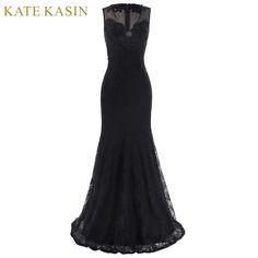 Kate Kasin Elegante Lange Prom Jurken Floor Lengte Zwarte Feestjurk 2017 V Hals Avondjurk Robe de Soiree Mermaid Prom Dress