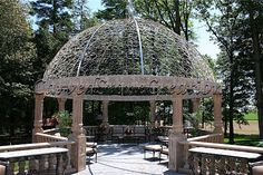 Relax under this beautiful stone gazebo! Click on the picture to take a closer look. #Stone #Gazebo #Design #Home #Landscape