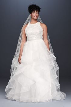 As-Is Floral Sequin Tiered Plus Size Wedding Dress Style Soft White,. - As-Is Floral Sequin Tiered Plus Size Wedding Dress Style Soft White, - Stunning Wedding Dresses, Wedding Dress Styles, Princess Wedding Dresses, Curvy Wedding Dresses, Sweetheart Wedding Dress, Tea Length Wedding Dress, Davids Bridal Dresses, Bridal Gowns, Davids Bridal Plus Size