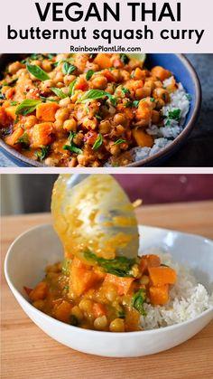 Vegan Dinner Recipes, Vegan Dinners, Thai Vegetarian Recipes, Veggie Recipes, Asian Recipes, Thai Vegan, Cooking Recipes, Vegan Curry, Healthy Recipes