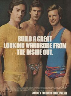 "An original 1974 advertisement for Jockey fashion underwear. Featuring young handsome models in retro 70s. ""Build a great wardrobe from the inside out."" -1974 Jockey advertisement -An original, not a"