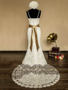 Classic Vintage Inspired Wedding Gown with Cross by LaceMarry