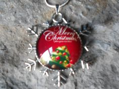 "MERRY CHRISTMAS Glass Cameo Necklace - Snowflake Setting (reversible)-.925 plated 22"" Chain--- Great Quality - Holiday - pinned by pin4etsy.com"