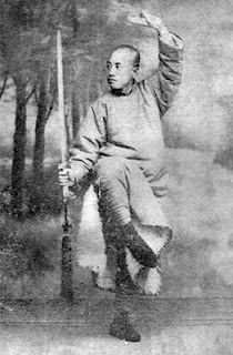 direction of toe point is sometimes essential, though appers inconsequential...bagua sword. Possibly from the Cheng style Bagua school.