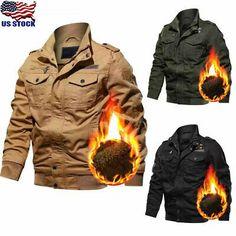 Men Winter Thick Fur Lined Jacket Zipper Bomber Military Warm Parka Coat Outwear Bomber Coat, Parka Coat, Fur Lined Coat, Thermal Jacket, Military Parka, Cargo Jacket, Mens Fleece, Line Jackets, Fur Collars