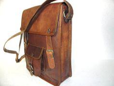 9 Inch Vintage Bag Leather Satchel Bag Messenger by jaihandicrafts