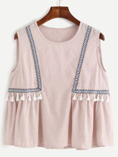 SheIn offers Pink Embroidered Tape Detail Tassel Trim Top & more to fit your fashionable needs.New Arrivals by BellanblueŚliczny top z chwostamiDesigner Clothes, Shoes & Bags for WomenTops on Sale Dresses Kids Girl, Kids Outfits, Summer Outfits, Cute Outfits, Girls, Fashion Mode, Kids Fashion, Fashion Outfits, Womens Fashion