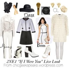 """Outfits inspired by Kpop girl group 2NE1's live performance of """"If I Were You"""" from the concert for new album Crush. Click the pic to view individual items used in this set on the original Polyvore page. You can also read the full article at http://chicgeekspeaks.wordpress.com/2014/03/02/everyday-kpop-fashion-2ne1-live-performance-crush-and-fire-inspired-outfits/"""