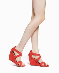 Awesome color wedge sandal.