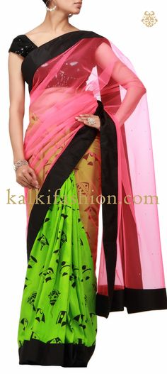 Buy it now http://www.kalkifashion.com/pink-and-florescent-half-and-half-printed-saree.html Pink and florescent Half and half printed saree