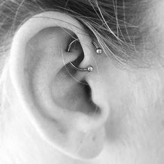 Piercing through rook and forward helix #piercing #womentriangle