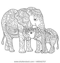 hand drawn elephants coloring page Make your world more colorful with free printable coloring pages from italks. Our free coloring pages for adults and kids. Detailed Coloring Pages, Cute Coloring Pages, Doodle Coloring, Animal Coloring Pages, Mandala Coloring, Adult Coloring Pages, Coloring Books, Elephant Colour, Elephant Love