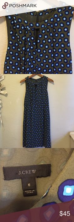 J.Crew Dress Super cute and professional. In excellent condition. No flaws. Olive green, navy, light blue and white. Fully lined. Dresses Midi