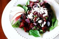 Smoked Beet Salad with Feta & Bacon.  My favorite restaurant gave me this receipe. I had never cooked beets before. It's simple.    Just boil whole beets for about 15 minutes until they are tender & then peel off the skin.    Chop into cubes.    Mix apple cider vinegar with olive oil and whisk. Add in Liquid Smoke (the secr #receipe #food