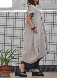 Abito donna retrò plus size abito lungo lino pullover