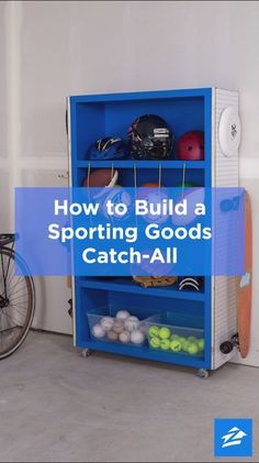 Turn an old bookcase into an organization all-star with this DIY sporting goods catch-all. #garagestorage #diystorage #storage Garage Organisation, Diy Garage Storage, Storage Organization, Garage Shelving, Storage Hacks, Storage Room Ideas, Carport Storage, Outdoor Toy Storage, Organizing