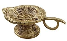 Indian Brass Oil Wick Lamp  Diya Wedding Lanterns Liquid Candle with Handle  45 x 3 x 15 ** This is an Amazon Affiliate link. Visit the image link more details.