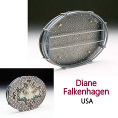Diane Falkenhagen - Rococo Landscape, 2006. Oxidized sterling silver, mixed media image on sterling silver, 14K gold, 23K gold leaf, stainless steel (pin stems