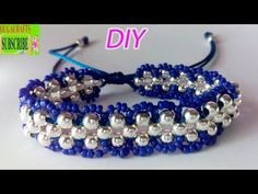 How to make bracelets with beads and string or thread tutorial diy chaquira beads and satin rattail - YouTube