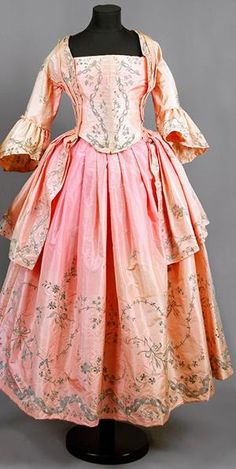 "Wedding dress of silk, 1770, Sweden, with silver embroidery, belonged to ""Aunt Ulla"" Ulrica Christina Cronstedt (1756 - 1841) on Gärdesta...."