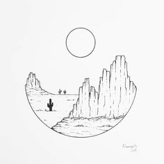 No automatic alt text available. Doodle Art Drawing, Pencil Art Drawings, Cool Drawings, Tattoo Drawings, Beautiful Easy Drawings, Desert Drawing, Arizona Tattoo, Dorm Art, Geometric Nature