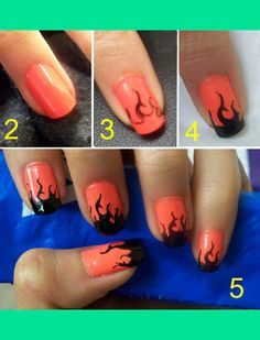 Halloween Flame Nails How-to: 1) White or neutral-colored nail polish 2) Orange nail polish 3) Draw flame outlines with a nail pen or Sharpie 4) Fill in flame with black polish 5) Finish with topcoat   Bonnie L.'s (Elegant_Lashes) Photo   Beautylish
