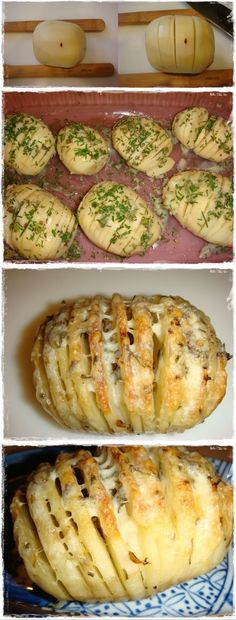 Sliced Baked Potatoes with Herbs and Cheese |  #Baked #Cheese #Herbs #Potatoes #Sliced #with