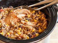 Serves 6 to 8 1 to 1 1/2 pounds boneless skinless chicken breasts, chicken thighs, or a mix 1 14.5-ounce can diced tomatoes 1 cup chicken stock, divided, plus more if needed 2 teaspoons chili powder 2 teaspoons salt 1 teaspoon cumin 1 cup brown rice 1 15-ounce can black beans, drained and rinsed 1 …