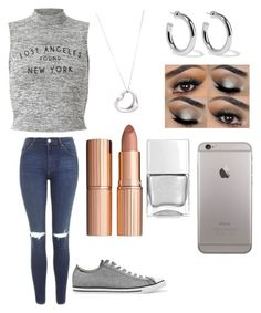 """""""Cute Gray And Silver Outfit"""" by siennacat06 on Polyvore featuring Miss Selfridge, Topshop, Converse, Tiffany & Co., Sophie Buhai, Charlotte Tilbury and Nails Inc."""