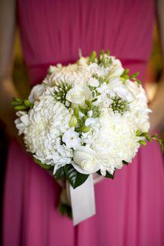 bukiet ślubny: chryzantema, floks, frezja, róża